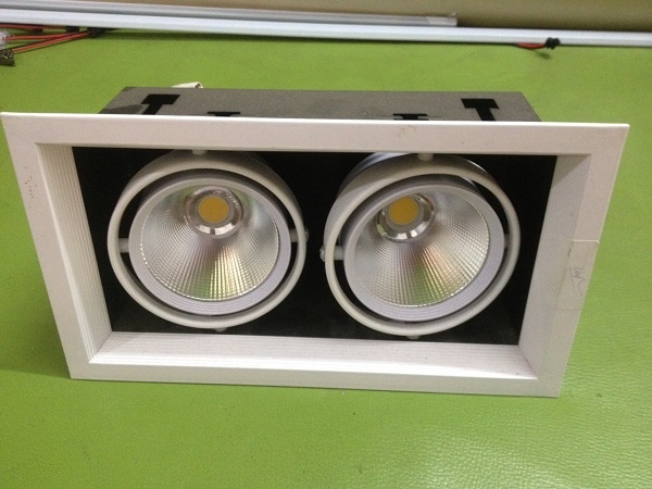 Đèn led downlight đôi âm trần mặt vuông 2x7w